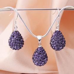 Vienna Jewelry Austrian Crystal Element Solid-Pave Pear Earring and Necklace Set-Amethyst Crystal