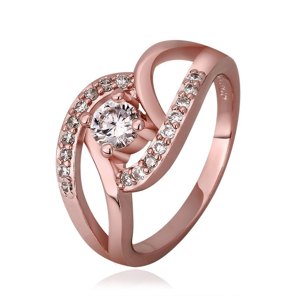 Vienna Jewelry Rose Gold Plated Muli-Knotted Jewel Ring Size 7