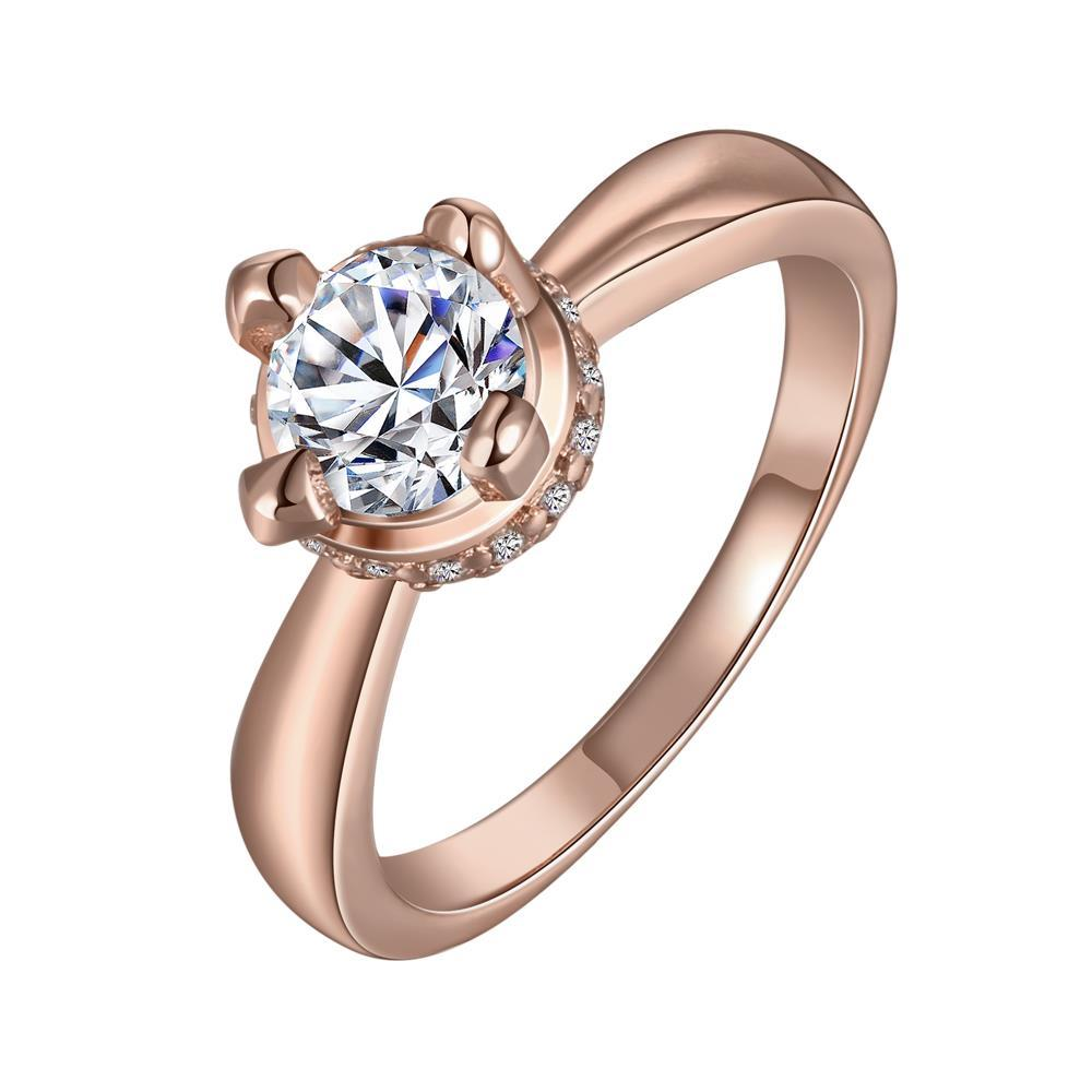 Vienna Jewelry Rose Gold Plated Crystal Jewel Center Ring Size 8