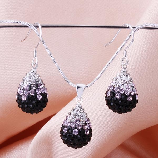 Vienna Jewelry Austrian Crystal Element Multi-Pave Earring and Necklace Set-Puple Passion