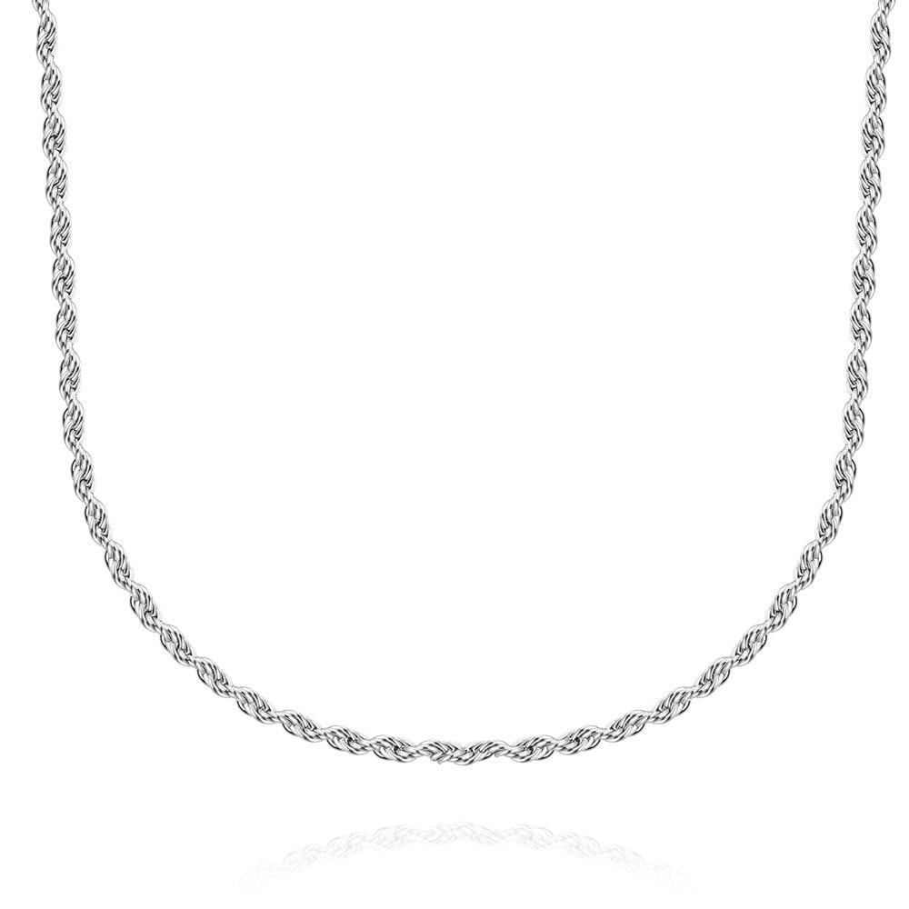 Vienna Jewelry Thin Line Cut Stainless Steel Chain 24 inches