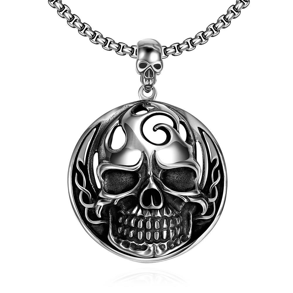 Vienna Jewelry Thick Skull Emblem Stainless Steel Necklace