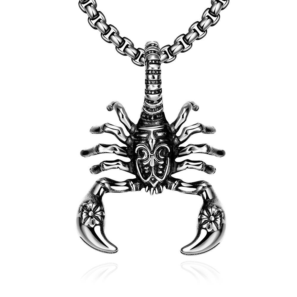 Vienna Jewelry Stainless Steel Scorpion Emblem Necklace