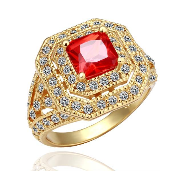 Vienna Jewelry Gold Plated Ruby Center Statement Ring Size 8