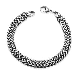 Vienna Jewelry Trio-Cut Thick Stainless Steel Bracelet - Thumbnail 0