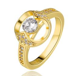 Vienna Jewelry Gold Plated Abstract Circular Jewel Ring Size 8 - Thumbnail 0