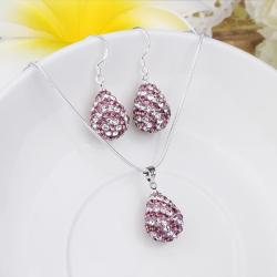 Vienna Jewelry Austrian Crystal Element Multi-Pave Pear Earring and Necklace Set- Pink