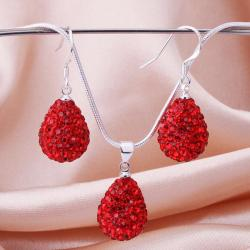 Vienna Jewelry Austrian Crystal Element Solid-Pave Pear Earring and Necklace Set-Red Crystal