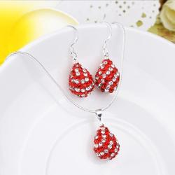 Vienna Jewelry Austrian Crystal Element Multi-Pave Pear Earring and Necklace Set-Ruby Red