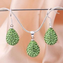 Vienna Jewelry Austrian Crystal Element Solid-Pave Pear Earring and Necklace Set-Green Crystal