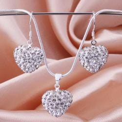 Vienna Jewelry Austrian Crystal Element Solid-Pave Heart Earring and Necklace Set- Solid White