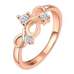 Vienna Jewelry Rose Gold Plated Multi Infinite Loop Jewel Covering Ring Size 6 - Thumbnail 0