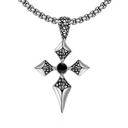 Vienna Jewelry Thin Stainless Steel Cross Necklace - Thumbnail 0
