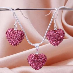 Vienna Jewelry Austrian Crystal Element Solid-Pave Heart Earring and Necklace Set-Solid Pink