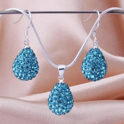 Vienna Jewelry Austrian Crystal Element Solid-Pave Pear Earring and Necklace Set-Teal Blue Crystal - Thumbnail 0