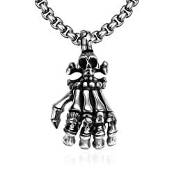 Vienna Jewelry Five Fingers Stainless Steel Emblem Necklace - Thumbnail 0
