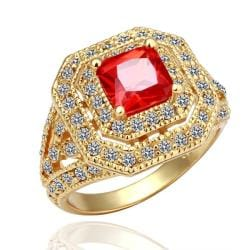 Vienna Jewelry Gold Plated Ruby Center Statement Ring Size 8 - Thumbnail 0