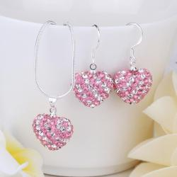 Vienna Jewelry Austrian Crystal Element Multi-Pave Heart Drop Earring and Necklace Set-Bubble Gum Pink