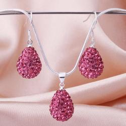 Vienna Jewelry Austrian Crystal Element Solid-Pave Pear Earring and Necklace Set-Pink Crystal