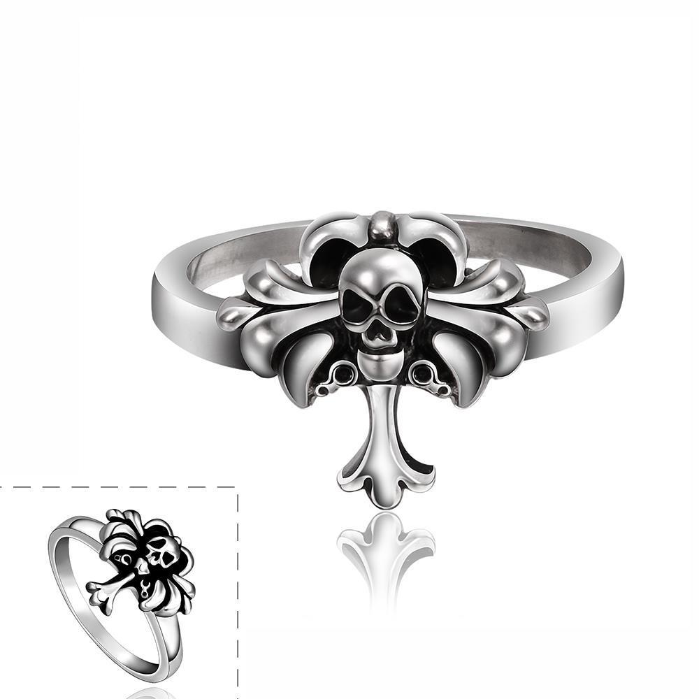 Vienna Jewelry Mini Cross Skull Stainless Steel Ring