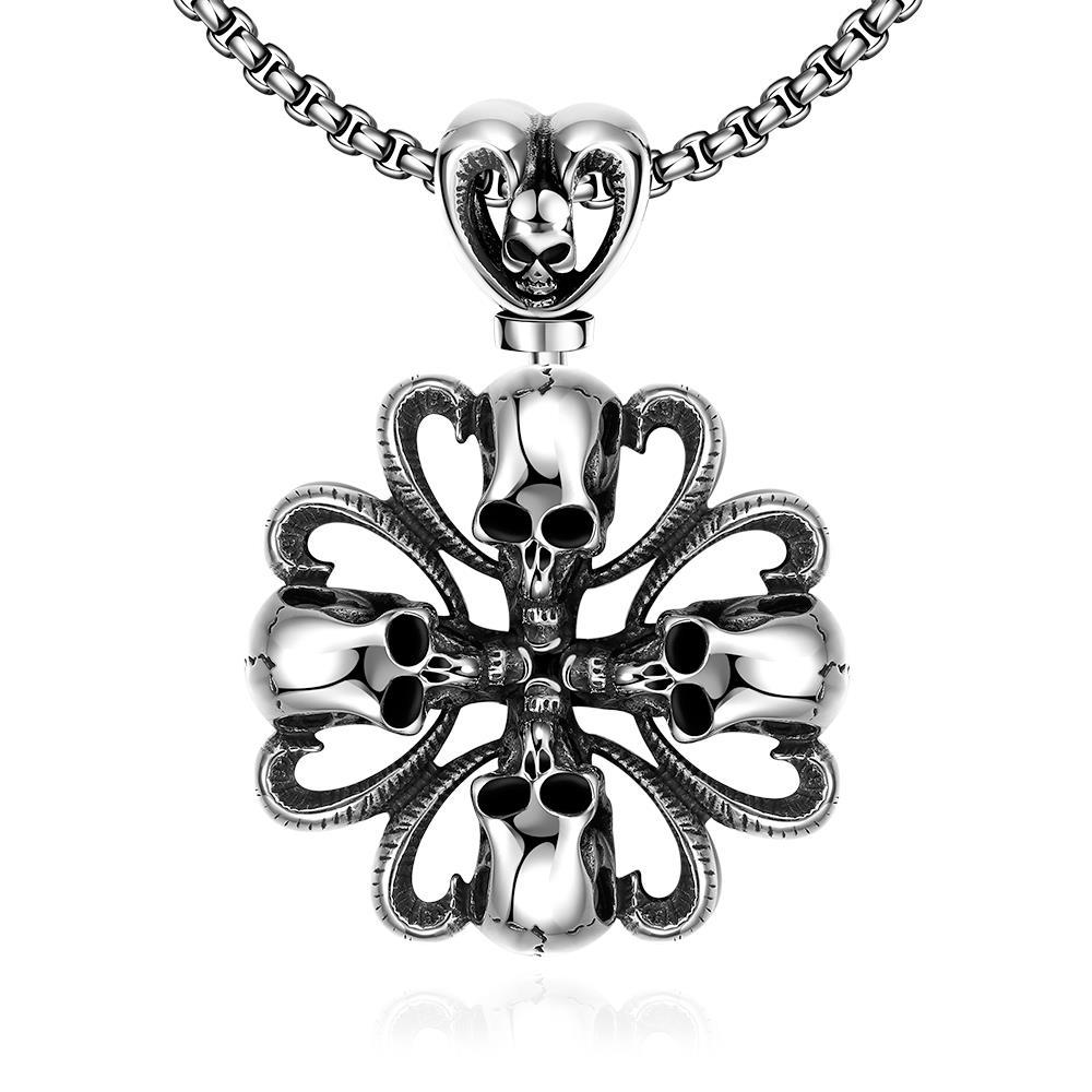 Vienna Jewelry Rose Petal Skull Emblem Stainless Steel Necklace