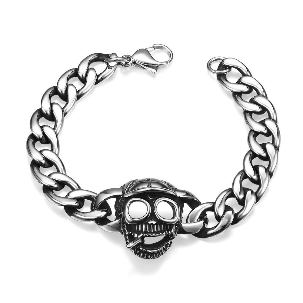 Vienna Jewelry Skull Cap Stainless Steel Bracelet