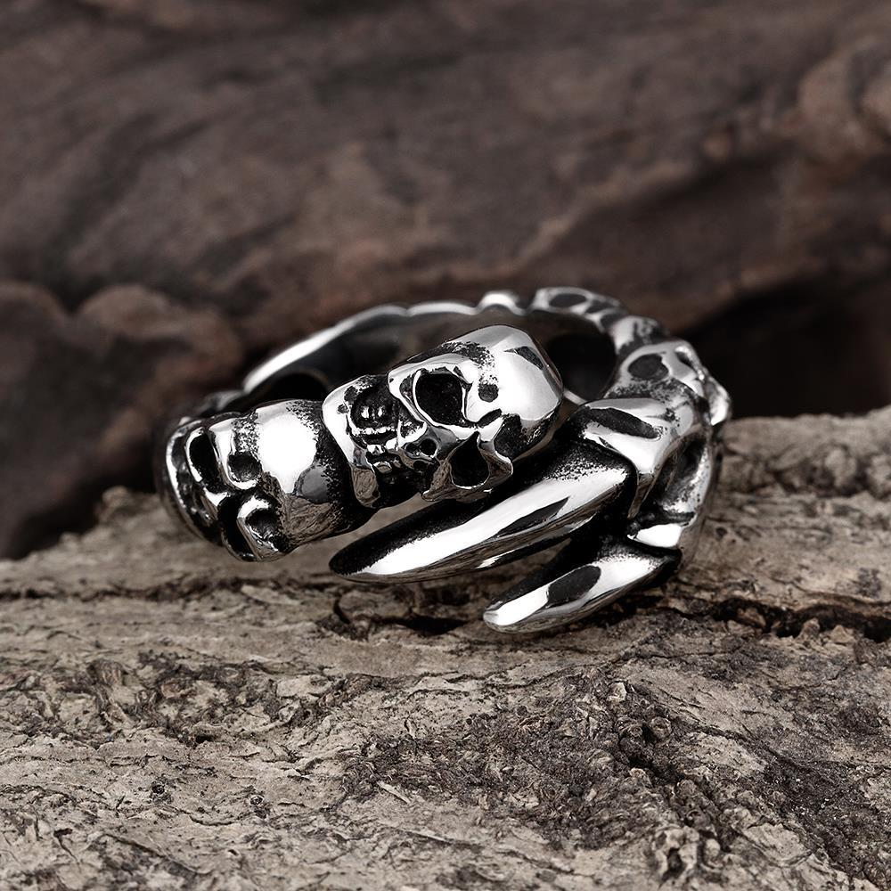Vienna Jewelry Open Ended Skulls Stainless Steel Ring