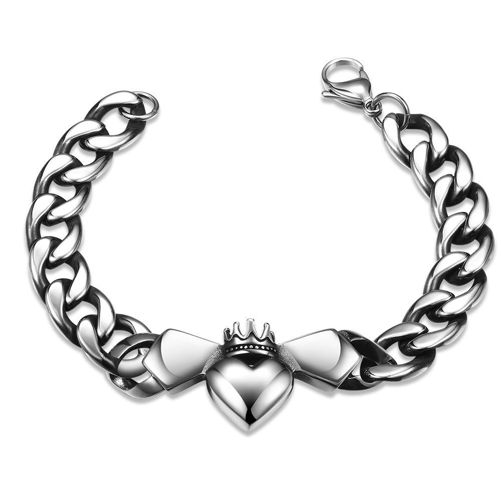 Vienna Jewelry Trio-Hearts Stainless Steel Bracelet - Thumbnail 0