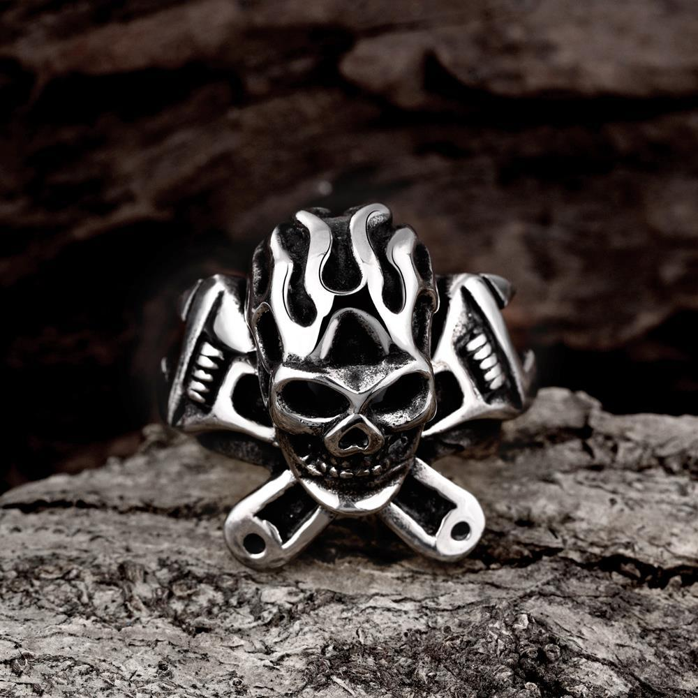 Vienna Jewelry The Original Death Skull Stainless Steel Ring