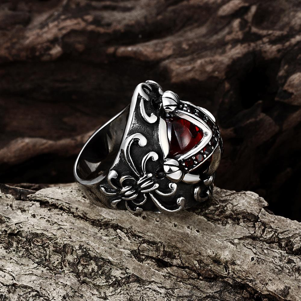 Vienna Jewelry Ruby Red Shield Cross Stainless Steel Ring