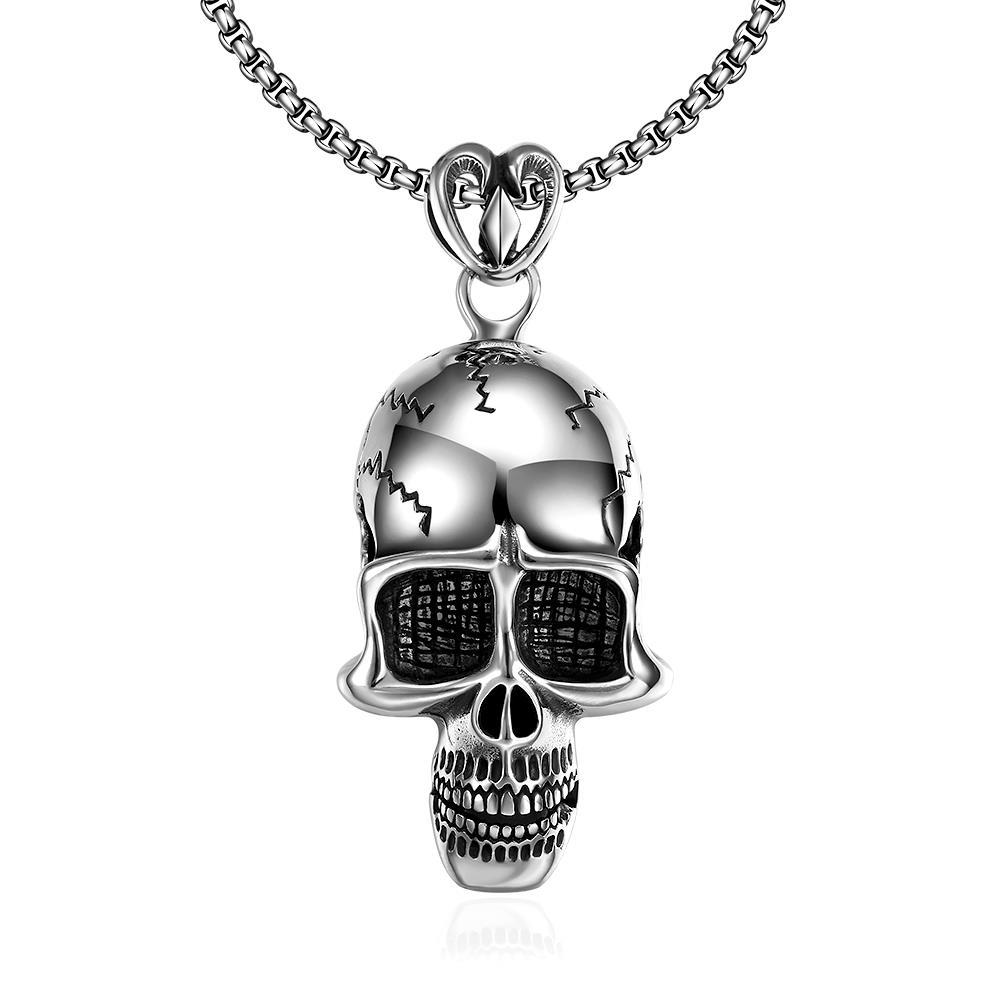 Vienna Jewelry Thin Skull Emblem Stainless Steel Necklace