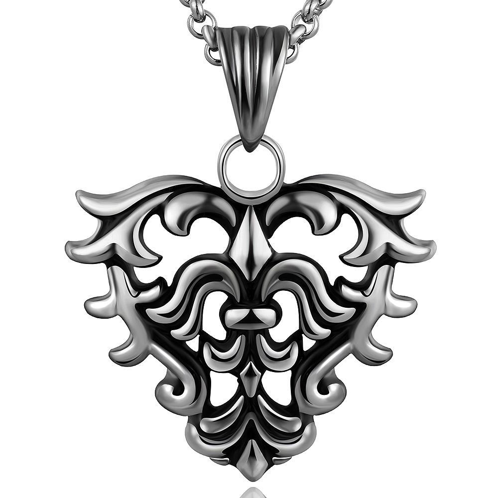 Vienna Jewelry Hollow Hearts Emblem Stainless Steel Necklace