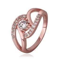 Vienna Jewelry Rose Gold Plated Muli-Knotted Jewel Ring Size 7 - Thumbnail 0