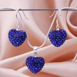 Vienna Jewelry Austrian Crystal Element Solid-Pave Heart Earring and Necklace Set-Solid Blue