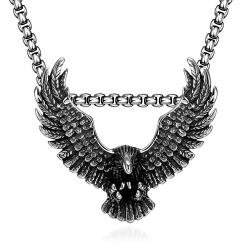 Vienna Jewelry Stainless Steel Flying Hawk Emblem Necklace - Thumbnail 0