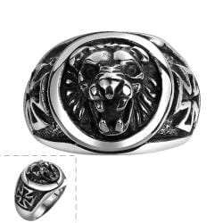 Vienna Jewelry King of the Jungle Stainless Steel Ring - Thumbnail 0