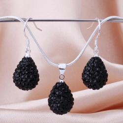 Vienna Jewelry Austrian Crystal Element Solid-Pave Pear Earring and Necklace Set-Black Crystal