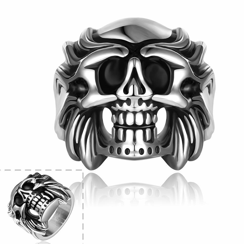 Vienna Jewelry Fire Skull Emblem Stainless Steel Ring