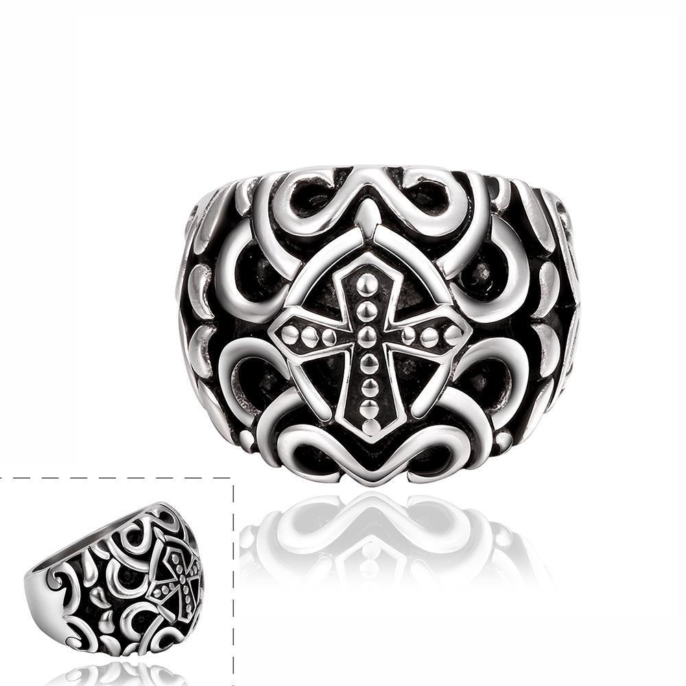 Vienna Jewelry Cross Design Emblem Stainless Steel Ring