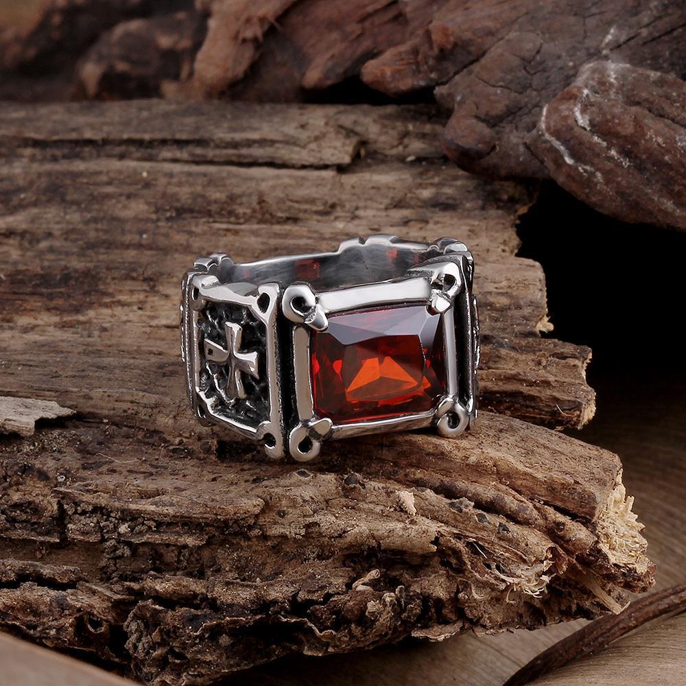 Vienna Jewelry Medium Cut Ruby Gem Stainless Steel Ring