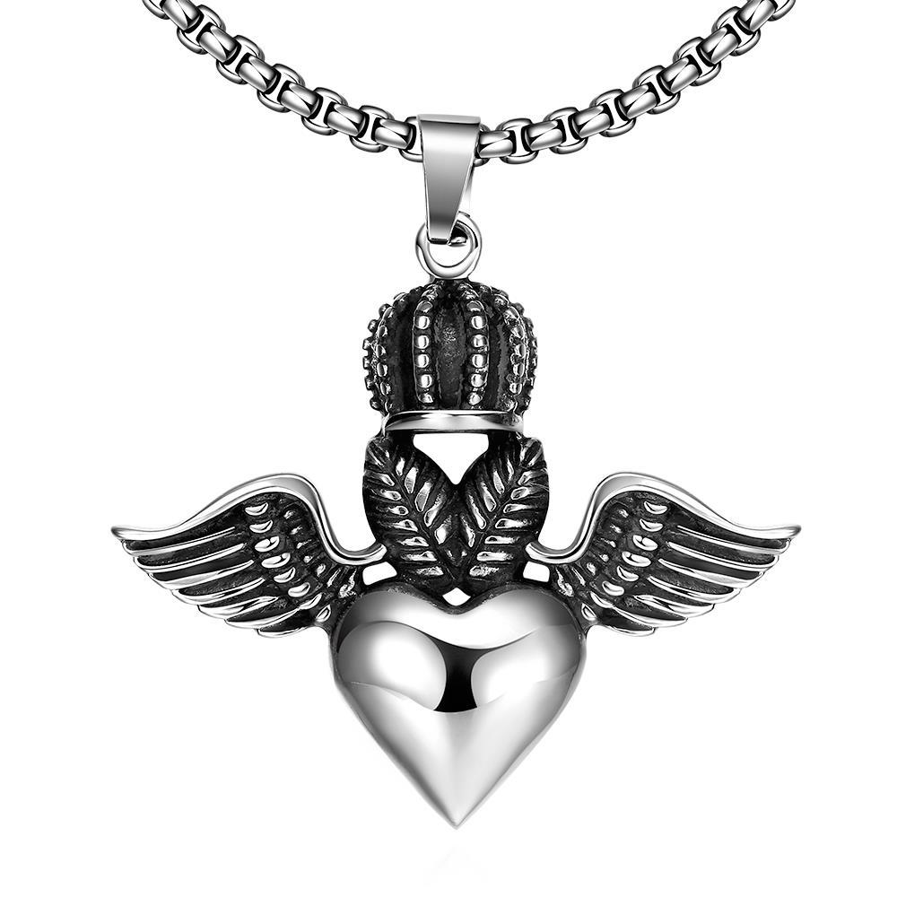 Vienna Jewelry Flying Hearts Emblem Stainless Steel Necklace