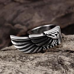 Vienna Jewelry Stainless Steel Eagle's Wing Ring - Thumbnail 0