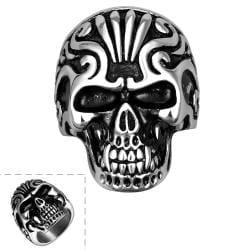 Vienna Jewelry Singular Stainless Steel Skull Ring - Thumbnail 0