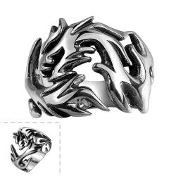 Vienna Jewelry Stainless Steel Abstract Flames Ring - Thumbnail 0