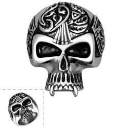 Vienna Jewelry Thin Skull Stainless Steel Ring - Thumbnail 0