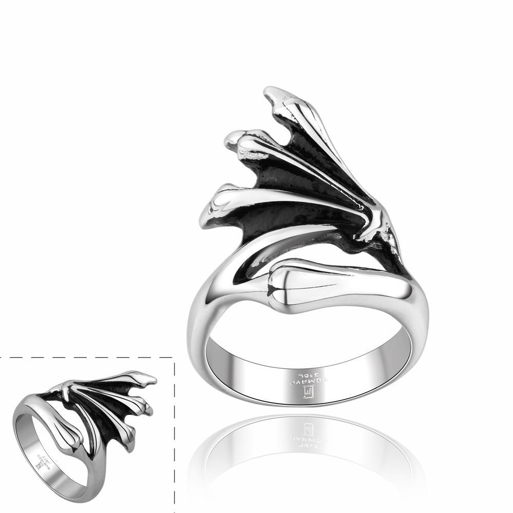 Vienna Jewelry Abstract Emblem Stainless Steel Ring