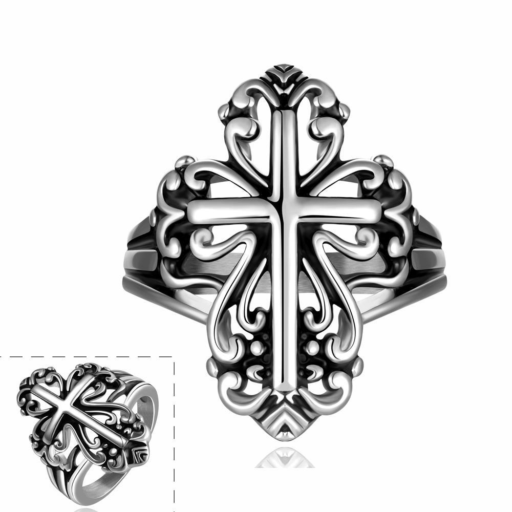 Vienna Jewelry The Cross Emblem Design Stainless Steel Ring
