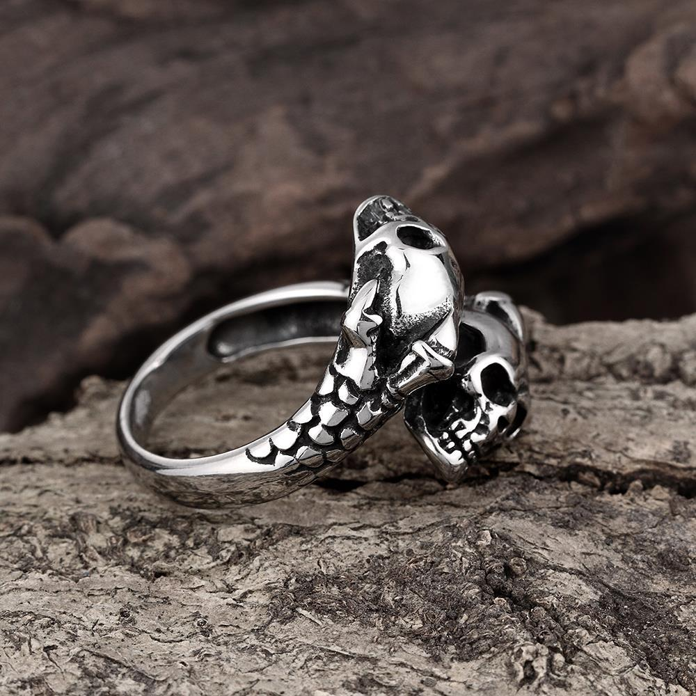Vienna Jewelry Open Ended Abstract Skulls Stainless Steel Ring