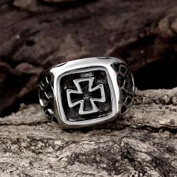Vienna Jewelry Mini Cross Square Stainless Steel Ring - Thumbnail 0