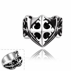 Vienna Jewelry Small Shield Emblem Stainless Steel Ring - Thumbnail 0